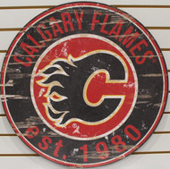 "CALGARY FLAMES NHL HOCKEY 23.5"" CIRCULAR WOODEN SIGN"