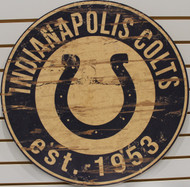 "INDIANAPOLIS COLTS NFL FOOTBALL 23.5"" CIRCULAR WOODEN SIGN"