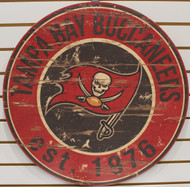 "TAMPA BAY BUCCANEERS NFL FOOTBALL 23.5"" CIRCULAR WOODEN SIGN"
