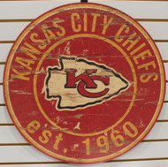 "KANSAS CITY CHIEFS NFL FOOTBALL 23.5"" CIRCULAR WOODEN SIGN"