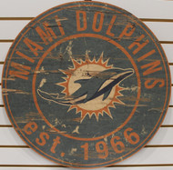 "MIAMI DOLPHINS NFL FOOTBALL 23.5"" CIRCULAR WOODEN SIGN"