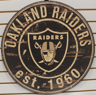 "OAKLAND RAIDERS NFL FOOTBALL 23.5"" CIRCULAR WOODEN SIGN"