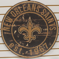 "NEW ORLEANS SAINTS NFL FOOTBALL 23.5"" CIRCULAR WOODEN SIGN"