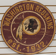 "WASHINGTON REDSKINS NFL FOOTBALL 23.5"" CIRCULAR WOODEN SIGN"