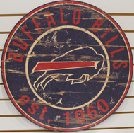 "BUFFALO BILLS NFL FOOTBALL 23.5"" CIRCULAR WOODEN SIGN"