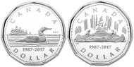 2017 $1 FINE SILVER 2-COIN SET -  30TH ANNIVERSARY OF THE LOONIE