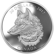 2017 $30 FINE SILVER COIN ZENTANGLE® ART: THE GREAT GREY WOLF