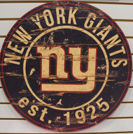 "NEW YORK GIANTS NFL FOOTBALL 23.5"" CIRCULAR WOODEN SIGN"