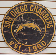 "SAN DIEGO CHARGERS NFL FOOTBALL 23.5"" CIRCULAR WOODEN SIGN"
