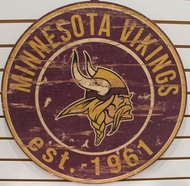 "MINNESOTA VIKINGS NFL FOOTBALL 23.5"" CIRCULAR WOODEN SIGN"