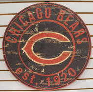 "CHICAGO BEARS NFL FOOTBALL 23.5"" CIRCULAR WOODEN SIGN"