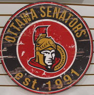"OTTAWA SENATORS NHL HOCKEY 23.5"" CIRCULAR WOODEN SIGN"