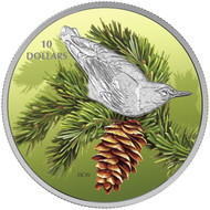 2017 $10 FINE SILVER COIN BIRDS AMONG NATURE'S COLOURS: NUTHATCH