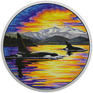2017 $30 FINE SILVER COIN ANIMALS IN THE MOONLIGHT: ORCAS