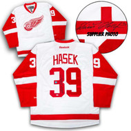 Dominik Hasek Detroit Red Wings Autographed White Reebok Premier Hockey Jersey