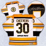 Gerry Cheevers Boston Bruins Autographed White Retro CCM Hockey Jersey