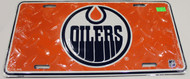EDMONTON OILERS NHL DIAMOND CUT LOOK METAL LICENCE PLATE- ORANGE