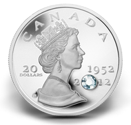 2012 FINE SILVER COIN WITH CRYSTAL - THE QUEEN'S DIAMOND JUBILEE