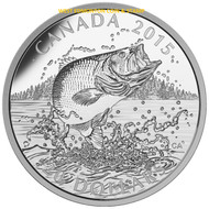 2015 $20 FINE SILVER COIN - NORTH AMERICAN SPORTFISH: LARGEMOUTH BASS