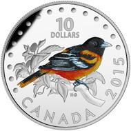 2015 $10 FINE SILVER COIN COLOURFUL SONGBIRDS OF CANADA: BALTIMORE ORIOLE