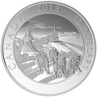 2015 $10 FINE SILVER COIN ADVENTURE CANADA: DOG SLEDDING