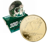 2010 SASKATCHEWAN ROUGHRIDERS POP UP FOOTBALL HELMET WITH DOLLAR (GOLD PLATED) (LIMITED TO 15000)