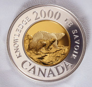 2000 POLAR BEAR PROOF $2 COIN - KNOWLEDGE TWO DOLLAR