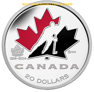 2014 $20 FINE SILVER COIN - 100TH ANNIVERSARY OF HOCKEY CANADA