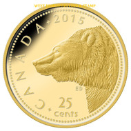2015 25-CENT PURE GOLD COIN GRIZZLY BEAR