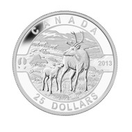 2013 $25 FINE SILVER COIN O CANADA SERIES - THE CARIBOU