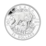 2013 $25 FINE SILVER COIN O CANADA SERIES - THE WOLF