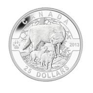 2013 $25 FINE SILVER COIN O CANADA SERIES - THE WOLF
