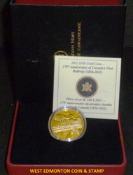2011 $100 GOLD COIN - 175TH ANNIVERSARY OF CANADA'S FIRST RAIL ROAD