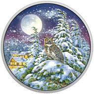 2017 $30 FINE SILVER COIN ANIMALS IN THE MOONLIGHT: GREAT HORNED OWL