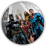 2018 $30 FINE SILVER COIN THE JUSTICE LEAGUE™: THE WORLD'S GREATEST SUPER HEROES