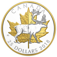 2018 $25 FINE SILVER PIEDFORT TIMELESS ICONS: CARIBOU