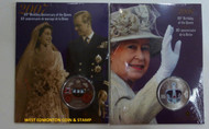 2006 & 2007 COLORED 25-CENT PIECES - QUEEN'S 80TH BIRTHDAY & 60TH WEDDING ANNIVERSARY