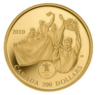 2010 OLYMPIC $200 GOLD COIN - FIRST CANADIAN 22KT GOLD METAL ON HOME SOIL