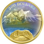 2007 CANADIAN ACHIEVEMENTS $300 14 K GOLD COIN ROCKIES