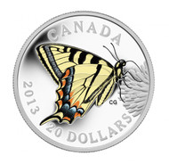 2013 $20 FINE SILVER COIN - BUTTERFLIES OF CANADA: CANADIAN TIGER SWALLOWTAIL