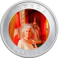 2013 25-CENT COLOURED COIN- HER MAJESTY QUEEN ELIZABETH II CORONATION