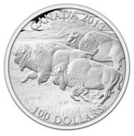 2013 $100 FINE SILVER COIN - BISON STAMPEDE