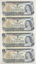 """END OF AN ERA"" CANADA'S LAST DOLLAR BILL. UNCUT SHEET 4 DOLLAR BILLS"
