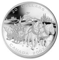2007 $20 FINE SILVER COIN - HOLIDAY SLEIGH RIDE
