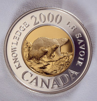 2000 22KT $2 GOLD COIN - PATH OF KNOWLEDGE COMMEMORATIVE - 3 POLAR BEAR - QUANTITY SOLD: 5,881
