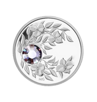 2012 $3 JUNE (ALEXANDRITE) FINE SILVER COIN CRYSTAL BIRTHSTONE COLLECTION (TAX EXEMPT)