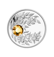 2012 $3 NOVEMBER (TOPAZ) FINE SILVER COIN CRYSTAL BIRTHSTONE COLLECTION (TAX EXEMPT)