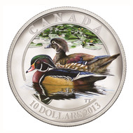 2013 $10 FINE SILVER COIN DUCKS OF CANADA - WOOD DUCK