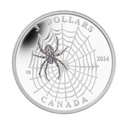 2014 $3 FINE SILVER COIN - ANIMAL ARCHITECTS - SPIDER & WEB