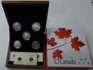 2013 $25 FINE SILVER 5-COIN SET - O CANADA SERIES - BEAVER - POLAR BEAR - WOLF - CARIBOU - ORCA
